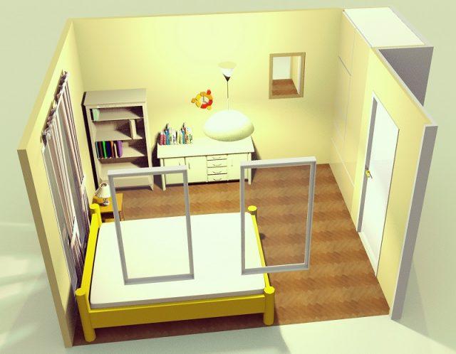 7畳寝室・縦・端寄せ