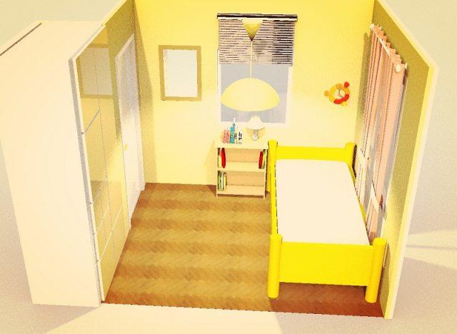 4畳寝室・シングルベッド横寄せ