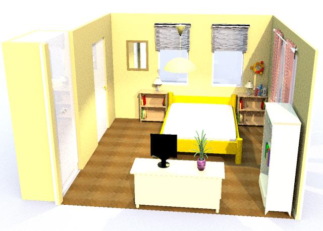 8畳寝室・横・シンメトリー