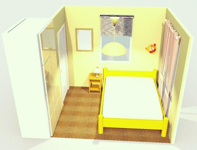 4畳寝室・ダブルベッド横寄せ