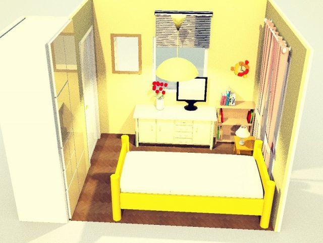 4畳寝室・シングルベッド・縦端寄せ