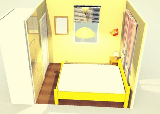 4畳寝室・ダブルベッド縦・端寄せ
