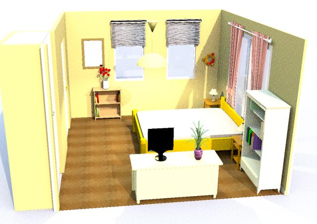 8畳寝室・縦・シンメトリー