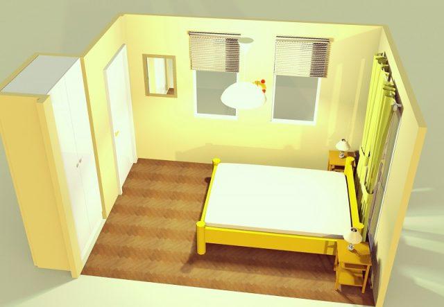 6畳寝室・縦置きシンメトリー