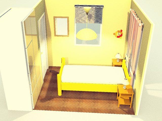 4畳寝室・シングルベッド・縦置きシンメトリー